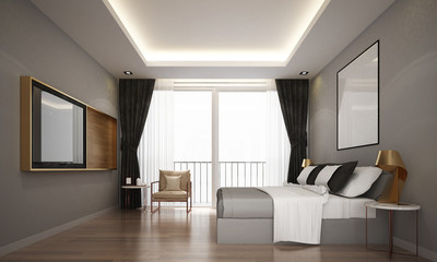 The luxury bedroom and lounge chair interior design / 3D rendering