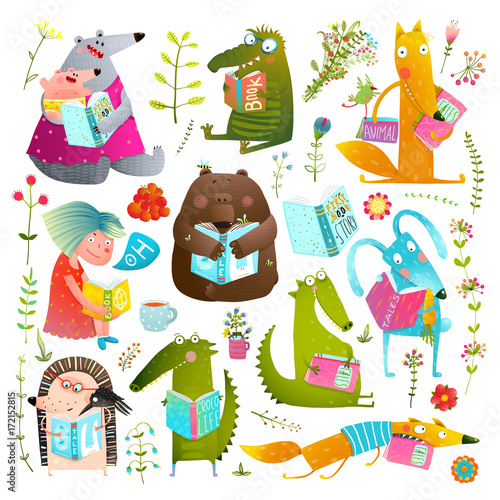 Funny Animal Kids Studying Reading Books Collection Stockfotos Und