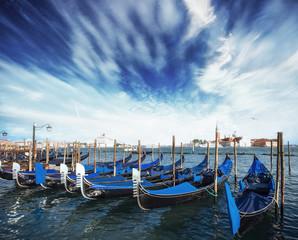 Gondolas on Grand canal in Venice, San Giorgio Maggiore church. San Marco. Beautiful summer landscape.