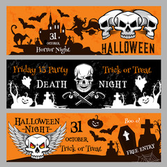Halloween party vector banners for Friday 13 night