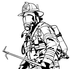 Fireman with Mask Holding Roof Hook in Hand - Black and White Illustration, Vector