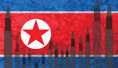 Rockets background North Korea flag