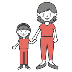 mother with daughter avatars characters vector illustration design