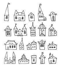 fantasy doodle houses, vector set