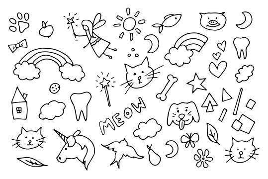 cute magic doodle vector symbols