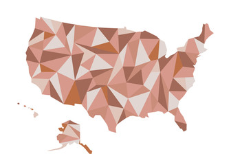 Map of USA. Isolated vector illustration. United States of America. US silhouette