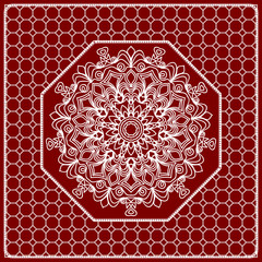 Red mandala background, geometric pattern with ornate lace frame. Vector illustration. for Scarf Print, Fabric, Covers, Scrapbooking, Bandana, Pareo, Shawl, Carpet design.