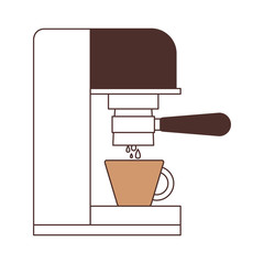 coffee espresso machine side view silhouette color section on white background vector illustration