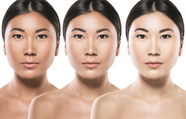 Difference in skin brightness. Concept of facial whitening or sun protection.