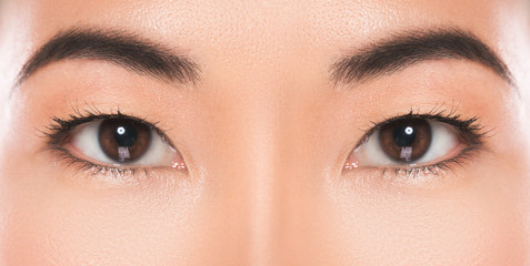Close-up of Asian eyes.