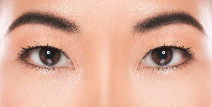 Close-up of Asian eyes.