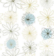 Pale colored decorative ornate background with round fantasy flowers