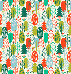 Seamless background with stylized trees. Nordic forest pattern
