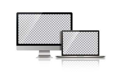 Realistic Monitor and Laptop - Stock Vector