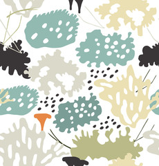 Seamless nordic floral pattern with reindeer moss, gray lichens, needles. Nature drawn background