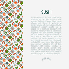 Japanese food concept with thin line icons of sushi, noodles, tea, rolls, shrimp, fish, sake. Vector illustration for banner, web page or print media.