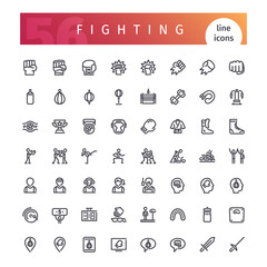 Fighting Line Icons Set