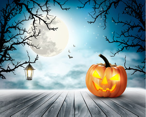 Scary Halloween background with pumpkin and moon. Vector.