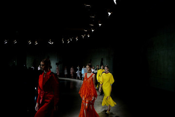 Models display creations from the Christopher Kane Spring/Summer 2018 show at London Fashion Week