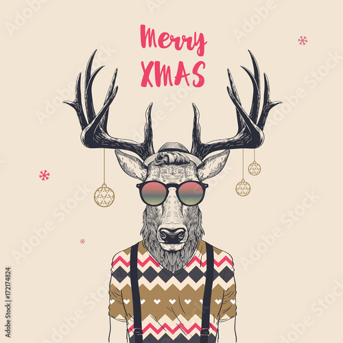 cool christmas deer stock image and royalty free vector files on