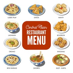 Central Asian food cuisine traditional dishes vector icons for restaurant menu