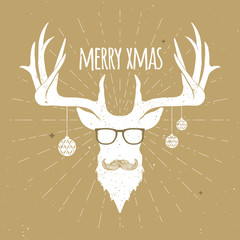White christmas deer silhouette on gold with mustache