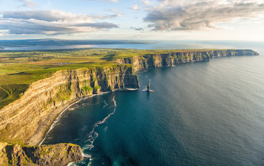 Aerial birds eye drone view from the world famous cliffs of moher in county clare ireland. Scenic Irish rural countryside nature along the wild atlantic way.
