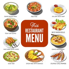 Thai cuisine food traditional dish vector icons for Thailand restaurant menu