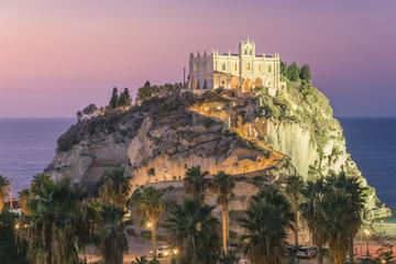 Tropea, Province of Vibo Valentia, Calabria, Italy. Santa Maria dell'Isola at dusk