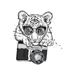 A beautiful tiger with a camera. Vector illustration for a postcard or a poster, print for clothes.