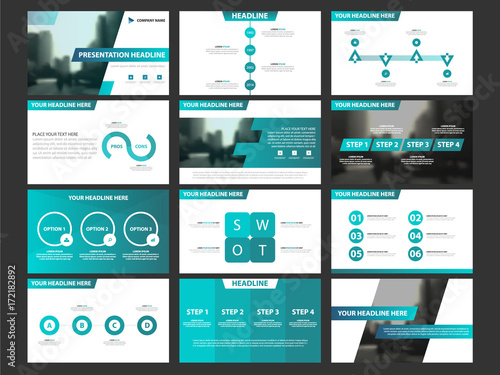 Blue Presentation Infographic Elements Template Set Annual Report - Horizontal brochure template