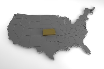 United States of America, 3d metallic map, with Kansas state highlighted. 3d render