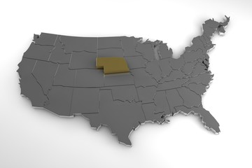 United States of America, 3d metallic map, whith Nebraska state highlighted. 3d render