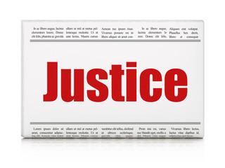Law concept: newspaper headline Justice