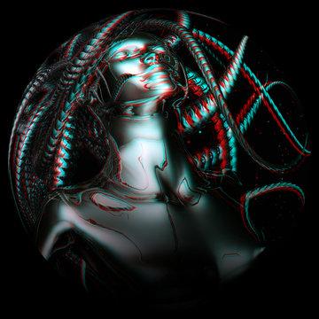Digital 3D Illustration of an anaglyphic Gorgo