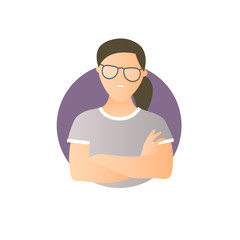 Proud, overproud woman, flat gradient vector icon
