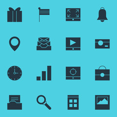 Vector Illustration Of 16 Internet Icons. Editable Pack Of Capture, Landscape Photo, Increase Chart Elements.
