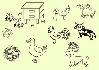 Set of Farm animals and birds icons