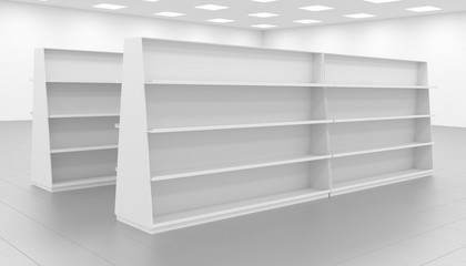 sketch, the concept of an empty store, store equipment, stacked shelves without goods , 3d render, 3d illustration