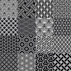 Set of japanese monochrome patterns. Vector Illustration