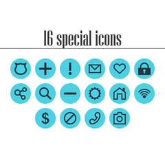 Vector Illustration Of 16 Member Icons. Editable Pack Of Cogwheel, Handset, Access Denied Elements.