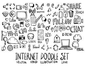 Set of Internet doodle illustration Hand drawn Sketch line vector eps10