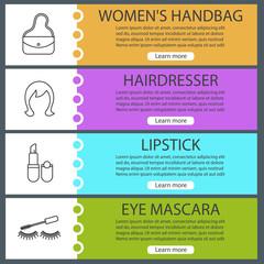 Cosmetics accessories web banner templates set