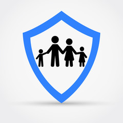 Shield and family, safety concept logo.