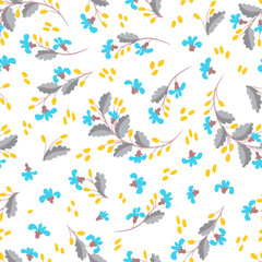Small flowers, berries, leaves on a white background. Floral seamless pattern. Cute vintage background. Prints for textiles.