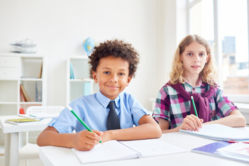 Adorable boys sitting by desk at lesson and carrying out task