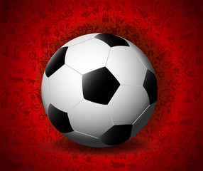 eps vector 3d football ball isolated on red ornament background. Sport activity poster for web, print. Russia world soccer tournament 2018 advertising banner template. Sport event presentation mockup