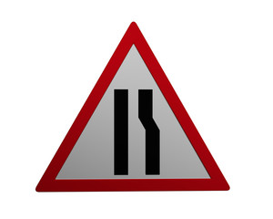 Verkehrszeichen: verengte Fahrbahn, rechts,