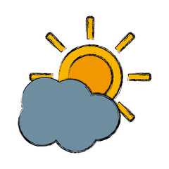 Sun and cloud weather icon vector illustration graphic design