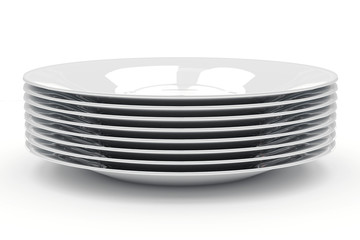 A stack of plates on a white background